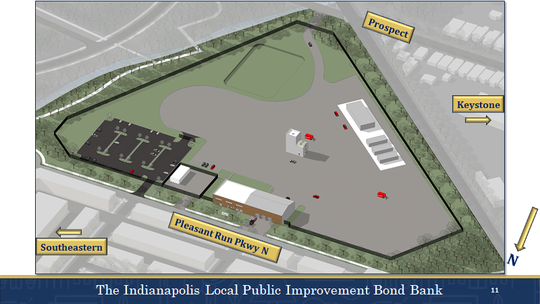 This rendering shows the layout for the development of the fire training facility in the Twin Aire neighborhood.