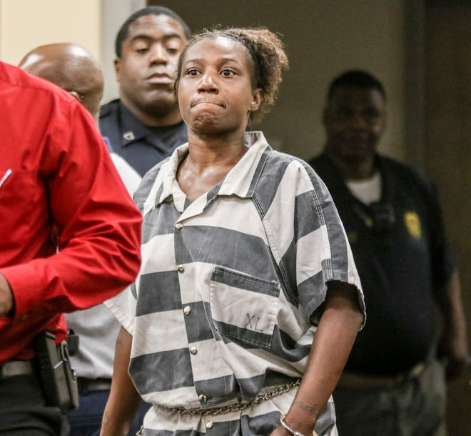 Celeste Louise Smith, 35, of Meridian, Miss., appears in Meridian Municipal Court on Thursday, Sept. 12, 2019, in Meridian, Miss. Smith was charged with capital murder and two counts of child neglect following the discovery of the body of a child at a city residence.