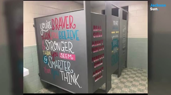 Heart of Whimsy, a nonprofit organization to empower girls, painted positive wall art in the bathrooms at East in Humboldt and TCA.