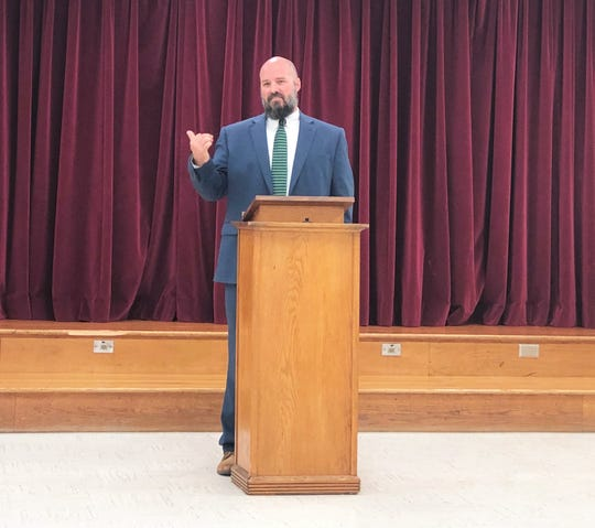 """""""We are looking to increase our community partnerships with connections to apprenticeships; they provide resources to our school so we can have a pipeline to move right into that job force, where there's a shortage (of skilled labor),"""" said new Central High School principal Andrew Brown. 9/2019"""