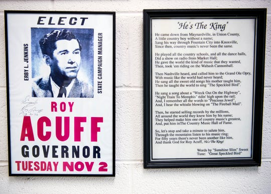 "An ""Elect Roy Acuff"" poster hangs inside the Union County Museum in Maynardville on Monday, Sept. 9, 2019."