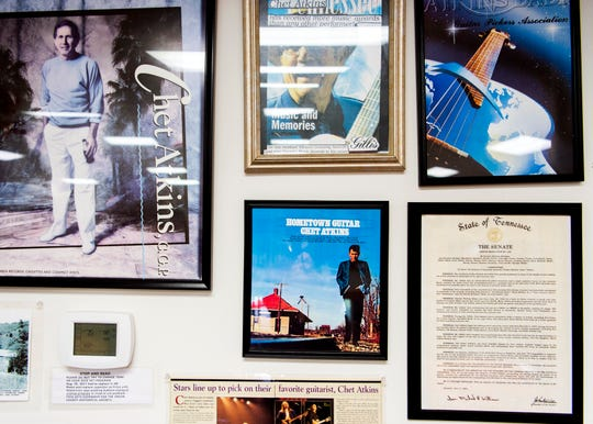 Chet Atkins memorabilia inside the Union County Museum in Maynardville on Monday, Sept. 9, 2019.