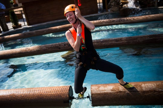 Kassandra Hazard of Wears Valley tries the Boom Run at Paula Deen's Lumber Jack Feud Show & Adventure Park in Pigeon Forge Thursday, Sept. 12, 2019.