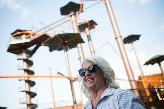 Paula Deen speaks about her new zipline roller coaster the Flying Ox at Paula Deen's Lumber Jack Feud Show & Adventure Park in Pigeon Forge Thursday, Sept. 12, 2019.