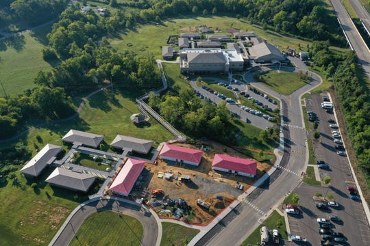 An aerial photograph shows the site of Clayton-Bradley Academy's new expansion in Maryville.
