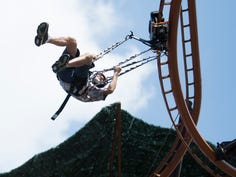 Jeff Hazard of Wears Valley rides the new zipline roller coaster the Flying Ox at Paula Deen's Lumber Jack Feud Show & Adventure Park in Pigeon Forge Thursday, Sept. 12, 2019.
