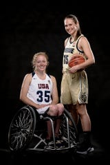 Purdue women's basketball junior Leony Boudreau and Shelby Gruss team up for the Wheel Rise event on Saturday