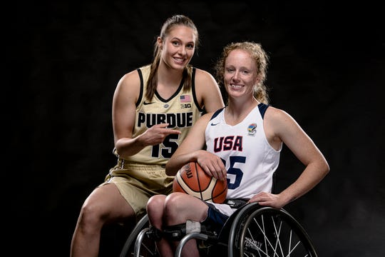 Purdue women's basketball junior Leony Boudreau and Shelby Gruss team up for Wheel Rise on Saturday