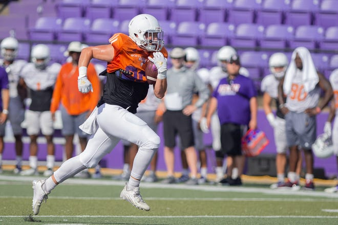 Northwestern State senior tight end Tyler O'Donoghue of Denham Springs is the son of former LSU pitcher John O'Donoghue