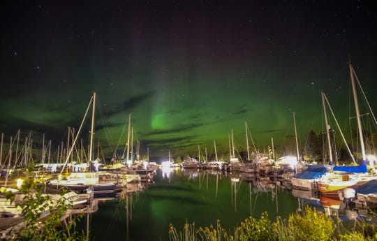 The Northern Lights over the Madeline Island Marina.