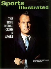 Paul Hornung was on the cover of Sports Illustrated after he was banned from the NFL for sports gambling.