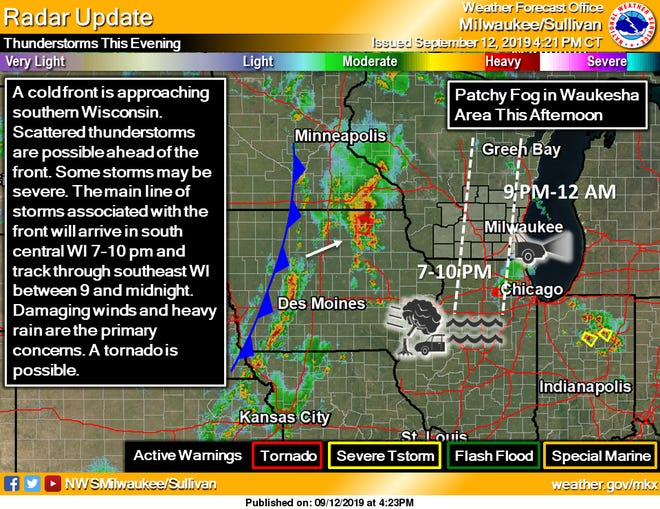 Thunderstorms, some of them severe, are forecast to develop ahead of a cold front that is set to move through Wisconsin later Thursday night.