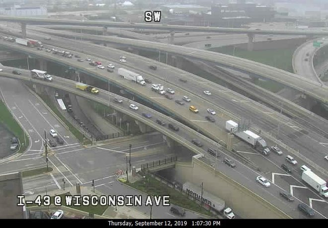 Northbound I-43 traffic backs up Thursday afternoon after an accident just north of the Marquette Interchange