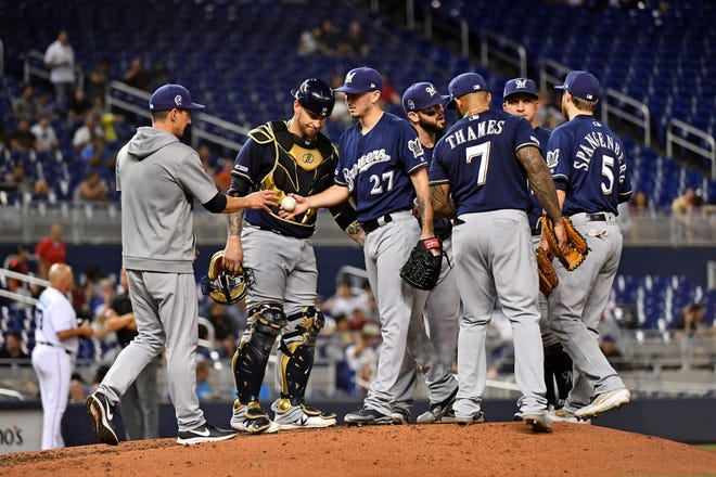 Brewers manager Craig Counsell has been yanking starters before they go five innings in favor of going to his bullpen this month, just like he did last September.
