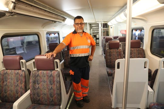 Elias Jimenez, a mechanic with TALGO stands in one of the commuter rail cars to be refurbished. September 12, 2019 Mayor Tom Barrett and TALGO's President and CEO Antonio Perez held a press conference at Century City where Talgo is located to view overhaul work on rail cars.  The work is part of a recently awarded project to TALGO-SYSTRA joint venture to rebuild up to 121 rail cars for Southern California Regional Rail Authority.  It will increase the number of jobs at the facility at 3533 N. 27th St. in Milwaukee.