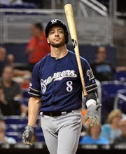 Ryan Braun wore the jersey of fallen Brewers star Christian Yelich under his own against the Marlins on Wednesday night, but it didn't help him personally as he went 0 for 4 with three strikeouts.
