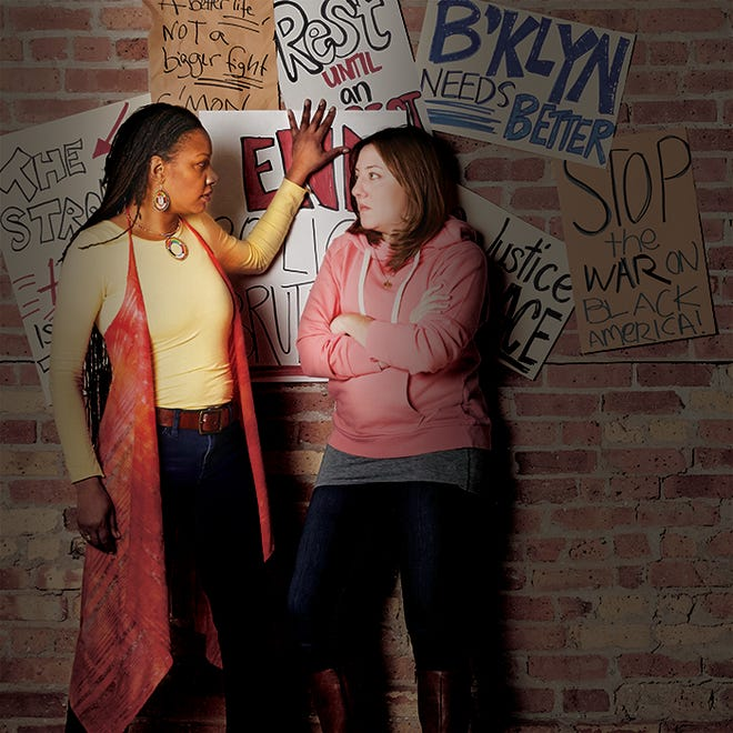 """Marti Gobel and Elyse Edelman perform in Milwaukee Chamber Theatre's """"Fires in the Mirror: Crown Heights, Brooklyn and Other Identities."""""""