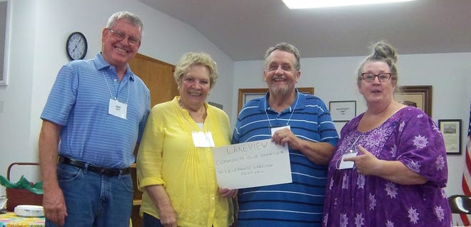 Lakeview Community Club President Larry Hazen and Treasurer Gary Smith recently presented a donation to Judy Behling and Grace Haggart representing the Celebrate Lakeview Festival. The free, family fun festival is slated from10 a.m.-4 p.m.Sept. 28at the Lakeview City Park. A 5K Challenge Run begins at 9 a.m., along with a 1-mile family fun run.Food trucks, games, the fire department, minnow races, crafts andvendors are scheduled. The Community Club is made up of members from throughout the Twin Lakes Area. Itmeets once a month for a potluck at LakeviewCity Hall. As a group, they like the idea of acelebration that helps people to learn about and enjoy our area.