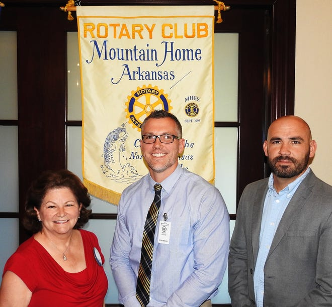 On Aug. 29, the Rotary Club of Mountain Home heard a very enlightening program from Matt Sutton about the School-Based Mental Health Program in our Mountain Home Public Schools system, one of the first and finest in Arkansas.Sutton explained what they're doing to get help for those students who are being bullied at school, feeling threatened at home, becoming more isolatedand possibly considering suicide. Sutton told the Rotarians that they are working closely with mental health professionals, school counselors, and even local youth pastors, to help identify those young people at risk. He also said that much of the expense of this school-based program is covered by Medicaid. Pictured are: (from left)Rotarian of the Day Nita Davis, guest speaker Matt Suttonand MHPS Superintendent/Rotarian Jake Long.