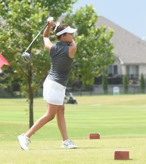 Mountain Home's Ella Brashears tees off during a recent match at Big Creek Golf & Country Club.