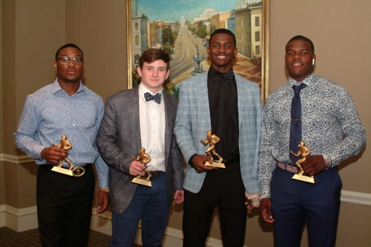 The Montgomery Quarterback Club honored four players of the week at its first meeting on Sept. 10. From left: Maplesville's Ryan Morrow, Catholic's Jack Burt, Alabama Christian's Jalen Clark and Wetumpka's Tyquan Rawls.