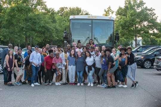 "The cast of ""Four Little Girls: Birmingham 1963,"" along with staff from Alabama Shakespeare Festival and Montgomery Public Schools, prepare to board a bus to D.C. on Wednesday, Sept. 11, 2019."