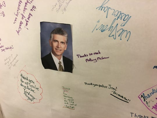 Messages for Senior Pastor Jay Wolf are written on a door at First Baptist Church in Montgomery.