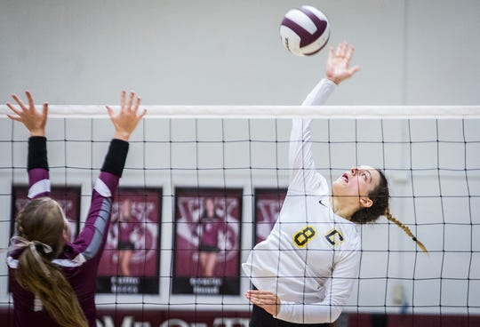 Cowan's Martina Demarchi hits against Wes-Del's defense during their game at Wes-Del High School Wednesday, Sept. 11, 2019.