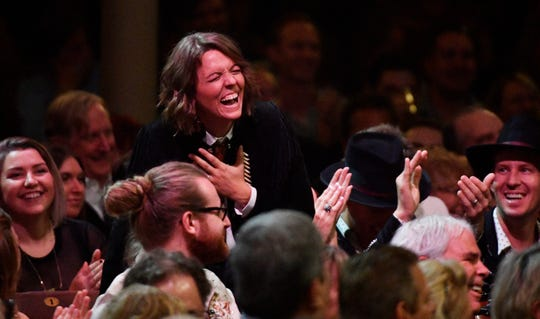 Brandi Carlile laughs from the audience during the Americana Music Honors & Awards Wednesday.