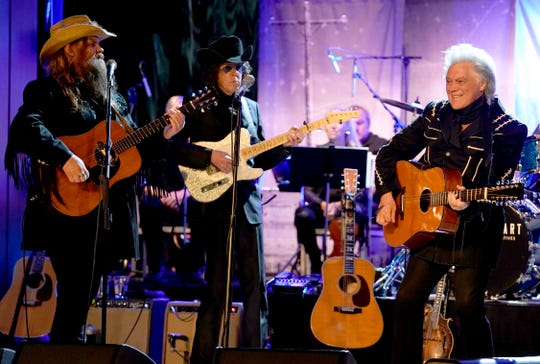 (L-R) Chris Stapleton, Kenny Vaughan and Marty Stuart perform at Marty Stuart's First of Three Shows as Artist-in-Residence at Country Music Hall of Fame and Museum on September 11, 2019 in Nashville, Tennessee. (Photo by Ed Rode/Getty Images for Country Music Hall of Fame and Museum)