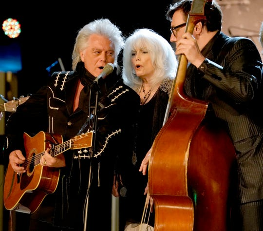 (L-R) Marty Stuart, Emmylou Harris and Chris Scruggs perform at Marty Stuart's First of Three Shows as Artist-in-Residence at Country Music Hall of Fame and Museum on September 11, 2019 in Nashville, Tennessee. (Photo by Ed Rode/Getty Images for Country Music Hall of Fame and Museum)