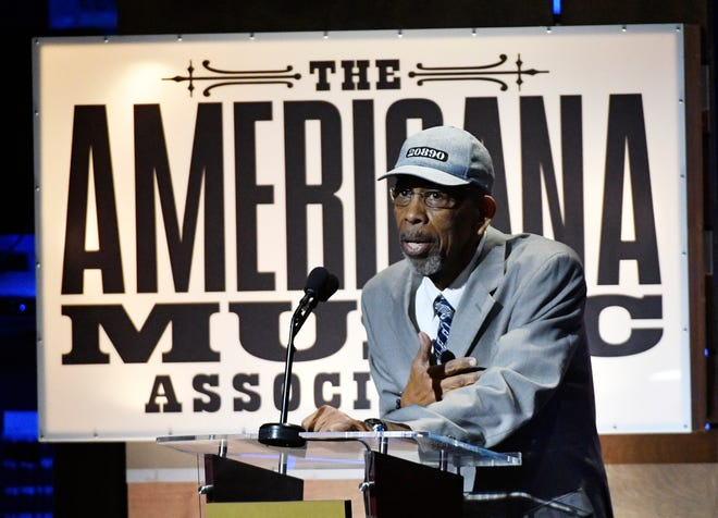 """Dr. Ernest """"Rip"""" Patton speaks at the Americana Music Honors & Awards Wednesday, Sept. 11, 2019 at the Ryman Auditorium in Nashville, Tenn."""