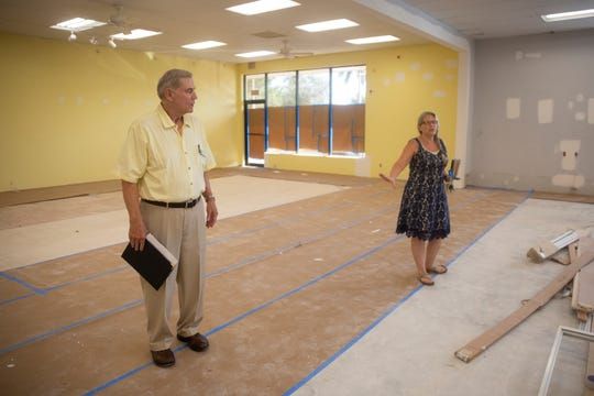 Kim Schul, executive director of Society of Saint Vincent De Paul Naples and SVDP Naples District Council President Denis Dugan discuss their plans for their new location, Thursday, Sept. 12, 2019, in East Naples.