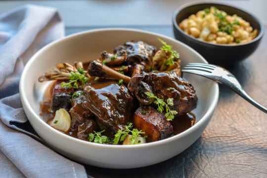 The Coq Au Vin is chicken & red wine, mushrooms and späetzle. Shown at Faubourg in Montclair on Wednesday September 11, 2019.