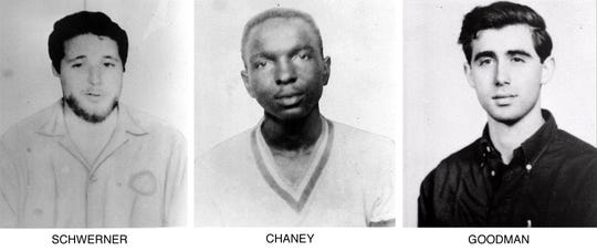 The FBI on June 29, 1964, began distributing these pictures of civil rights workers Michael Schwerner, left, James Chaney, and Andrew Goodman, right, who disappeared near Philadelphia, Miss., June 21,1964. The three civil rights workers were abducted, killed and buried in an earthen dam in rural Neshoba County.