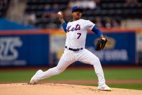 New York Mets pitcher Marcus Stroman (7) delivers a pitch during the first inning against the Arizona Diamondbacks at Citi Field.