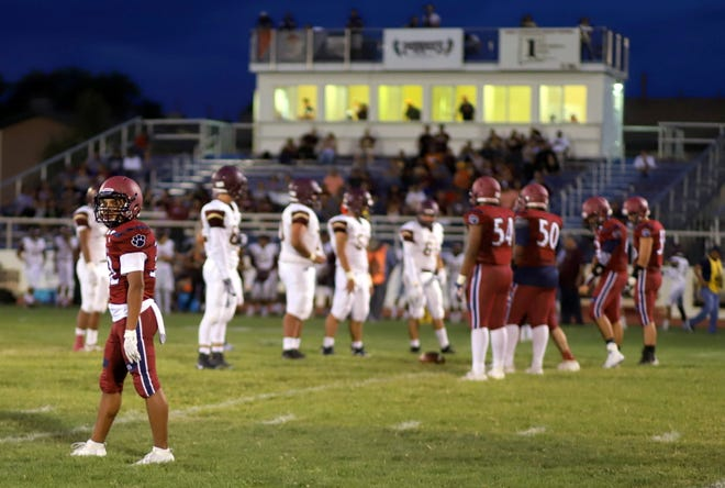 """At far left, junior wide receiver Jordan Caballero could be the """"go-to"""" 'Cat in the Wildcat passing game. The 5-foot-7, 140-pound back can be a deep threat or a possession receiver in the scheme of the Deming offense."""