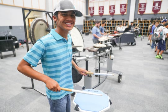 Isaac Brealey-Rood practices with the Oñate percussion at Oñate High school in Las Cruces on Wednesday, Sept. 11, 2019.