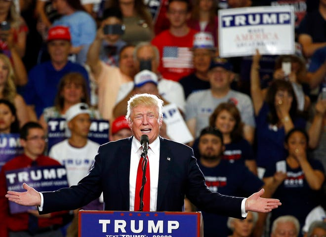 In this May 24, 2016 file photo, Republican then-presidential candidate Donald Trump speaks at a campaign event in Albuquerque, N.M. New Mexico law enforcement agencies are prepping for an upcoming Trump rally in Rio Rancho on Monday, Sept. 16, 2019, three years after previous ones turned violent in Albuquerque.