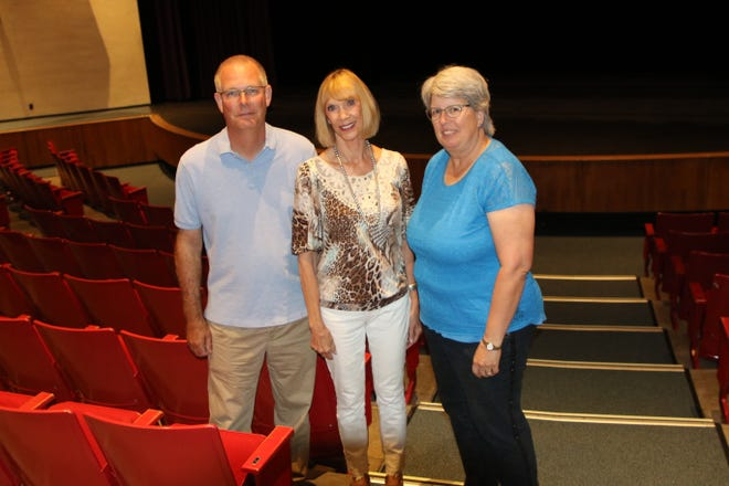 Senior physical plant director Chris Harrelson, San Juan College foundation executive director Gayle Dean and Gonnie Gotsch Arts Foudnation treasurer Cathy Pope take a look around the college's Little Theatre, which will be renovated, thanks to a $500,000 gift from Pope's foundation.