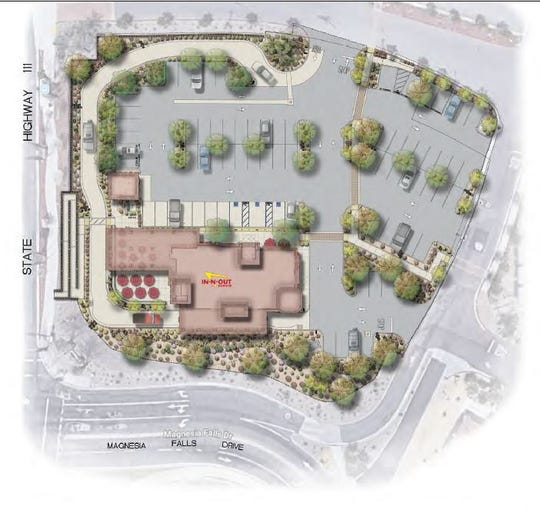 This rendering shows the proposed layout for the In-N-Out Burger planned for Rancho Las Palmas shopping center in Rancho Mirage. The drive-through lane wraps around the building and is contained within the parking lot. Vehicles would likely exit onto Magnesia Falls Drive, where a left turn is prohibited. At Highway 111, vehicles can only turn left or right onto the highway.