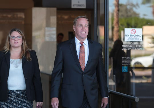 Former Palm Springs mayor Steve Pougnet exits the Larson Justice Center in Indio, September 12, 2019.