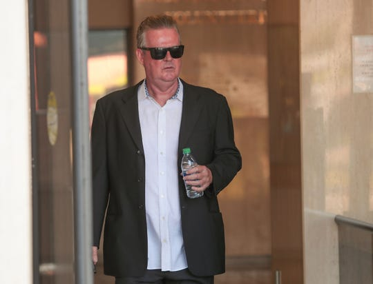 Richard Meaney exits the Larson Justice Center in Indio, Sept. 12, 2019.