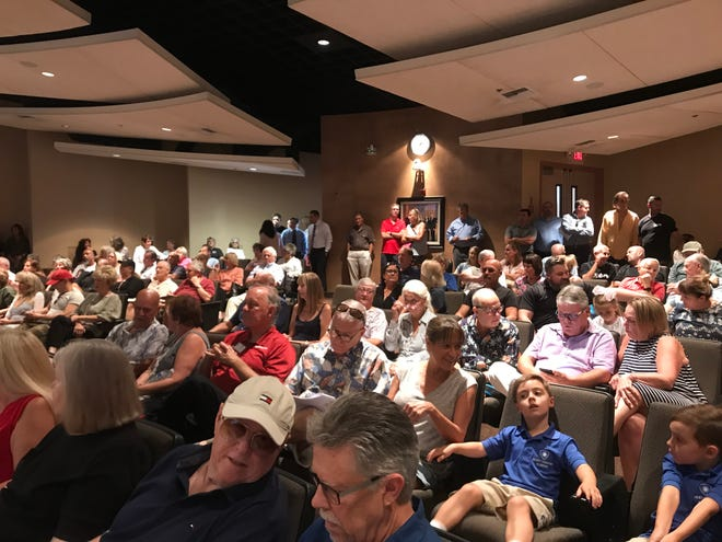 A full council chamber at Rancho Mirage City Hall on Thursday afternoon, Sept. 12, 2019. Many in the audience attended to speak regarding a proposal to build a In-N-Out Burger on the corner of Highway 111 and Magnesia Falls Drive, in the Rancho Las Palmas shopping center.