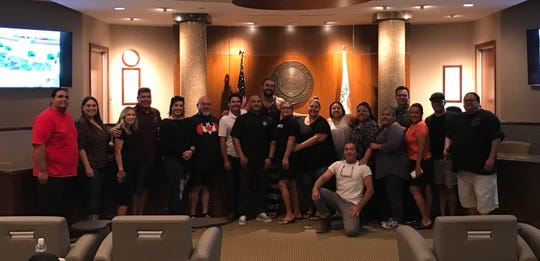 "Actor Jason Momoa (center) poses with tribal leaders and members of the Agua Caliente Band of Cahuilla Indians. The actor, known mainly for his roles as the Aquaman and Dothraki chieftain Khal Drogo on ""Game of Thrones,"" was in the Coachella Valley scoping out sites for an upcoming film."