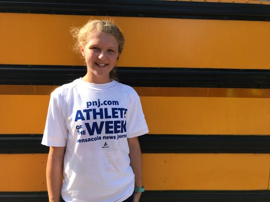 Pensacola Christian eighth-grader Raeanne Tutton is the PNJ Athlete of the Week! Tutton finished 15th at the Pace Patriot Invitational, claiming the award for the Sept. 1-7 voting period.