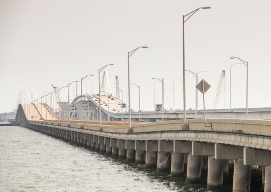 Traffic moves along the first span of the new Pensacola Bay Bridge earlier this month.