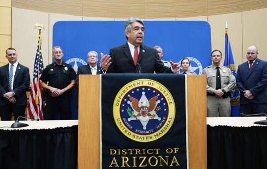 U.S. Marshal David Gonzales announced murder suspects Blane Barksdale and Susan Barksdale were taken into custody during a press conference at the Sandra Day O'Connor U.S. Courthouse on Sep. 12, 2019 in Phoenix, Ariz.