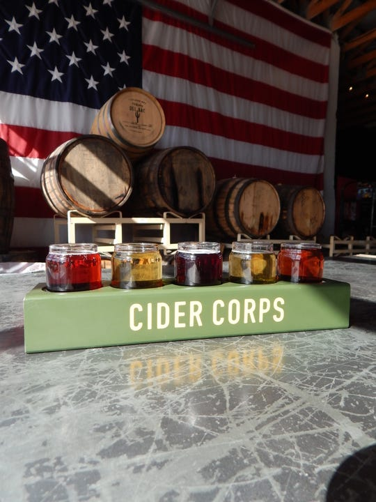 Enjoy a variety of flavors with a flight at Cider Corps.