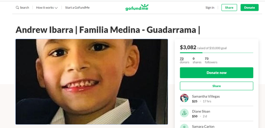 Screenshot of Andrew Ibarra GoFundMe